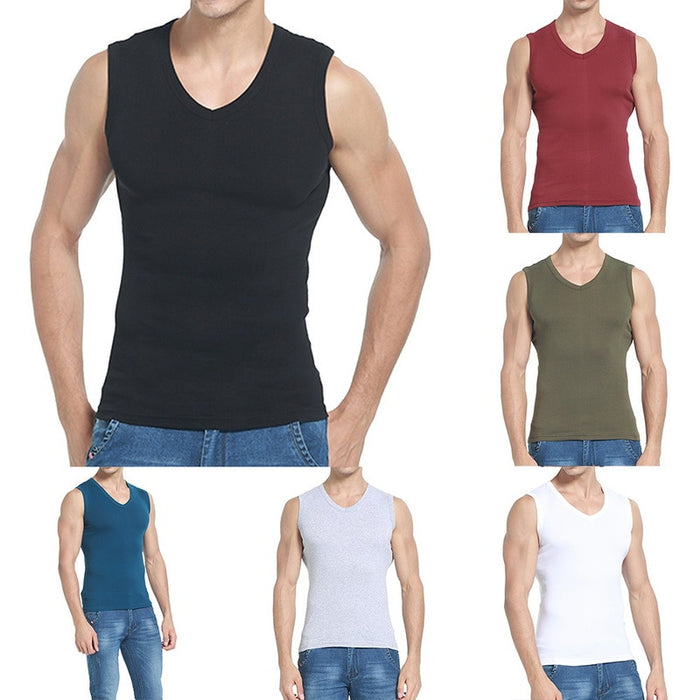 Fitness Casual Wear Tanks Men Wear Undershirt V-neck Sleeveless Solid Breathable Cotton