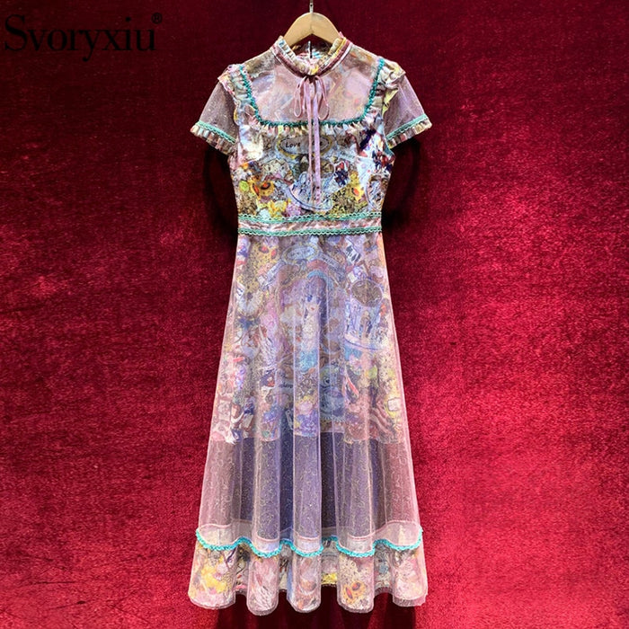 Svoryxiu Designer High End Summer Tulle Long Dress Women's Fashion Short Sleeve Vintage