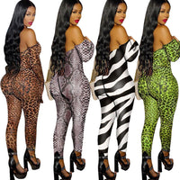 HAOYUAN Sexy Mesh Zebra Snakeskin Leopard Rompers Womens Jumpsuit Long Sleeve Body Overalls One Piece Outfit Club Tube Jumpsuit