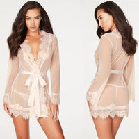 Sexy Lingerie Women Sexy Blouse Robe + G String Porno Sleepwear Lace Underwear Sex Babydoll Erotic Transparent Dress DJ016