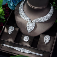 HIBRIDE New White Color Fashion Top Quality Wedding Jewelry Sets AAA CZ Geometric Bridal Earrings Necklace Sets N-1141