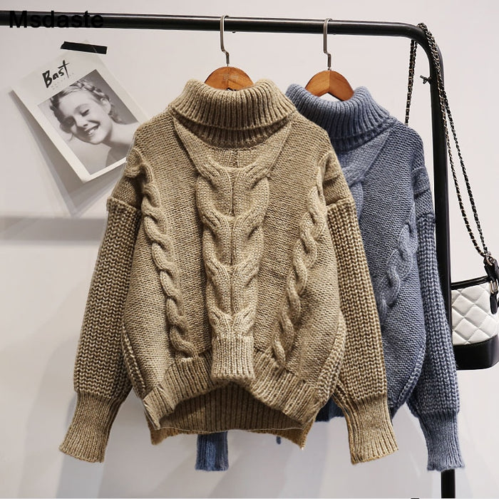 Sweaters Women 2019 Winter Female Knitted Tops Casual Turtleneck Knitwear Autumn Solid