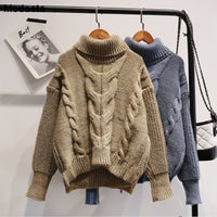 Sweaters Women 2019 Winter Female Knitted Tops Casual Turtleneck Knitwear Autumn Solid Puff Sleeve Woman Loose Sweater Pullovers