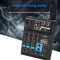 Professional 4 Channel bluetooth Mixer Audio Mixing DJ Console with Reverb Effect for Home Karaoke USB Live Stage Karaoke KTV