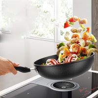 Frying Pan Non-stick Pan Back Wheat Stone Wok 30CM32CM34CM Household Wok No Oil Smoke Pot Non-stick Pot Iron Pot