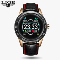 LIGE 2019 New leather smart watch men leather smart watch sport For iPhone Heart rate blood