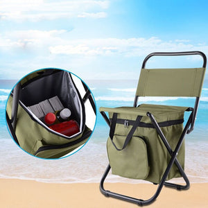 Multifunctional Outdoor Folding Stool Portable Ice Bag Stool with Insulation Bag Fishing Stool Beach Chair Lightweight Stool