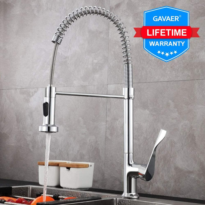 Gavaer Spring Pull Down Kitchen Faucets Dual Mode Effluent Water Taps Handheld Kitchen Mixer