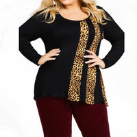 5XL Plus Size Woman Tshirts Leopard Print Shirt Long Sleeve Casual T-shirt O-Neck Patchwork Tee Shirt Femme Autumn Tops T shirt