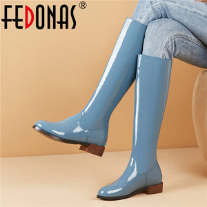 FEDONAS Women Fashion Solid Genuine Leather Knee High Boots Night Club Shoes Woman Square Heels Female Silm Long Riding Boots