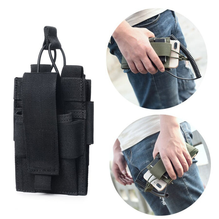 new Multifunctional bag Double-layer mobile phone set walkie-talkie charger set bag headphone hole