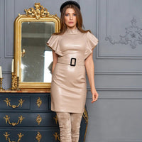Fashion Belt Sexy Pu Leather Dresses Ladies Stand Collar Flare Sleeve Mini Dress Business Dress For women Office 2020