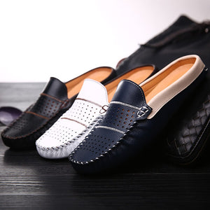 Handmade Leather Half Shoes For Men Casual Mule Shoe Black White Blue Man Moccasin Driving Shoes Slip On Summer Loafers Slippers