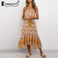 Everkaki Vintage Long Dress Women Boho Print Sleeveless Summer Vestidos Ladies Slip Maxi Dresses Female 2020 Spring New Fashion