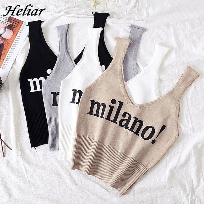 HELIAR Tops Female Sexy Crop Top Fashion Lettering milano Camisoles Lady Chic White Crop