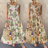 Women Summer Boho Dress Floral Printed Sleeveless Long Maxi Dresses Female Vintage O-Neck Loose Holiday Beach Vest Dress 2020New