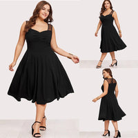 Sale Plus Size Womens Vintage Swing Dress Ladies Sleeveless Party Skater Dresses Black Summer A Line Midi Dresses Femme D30