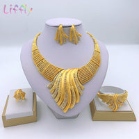 Liffly New Indian Jewelry Sets Multicolor Bridal Wedding Big Crystal Dubai Gold Jewelry Sets
