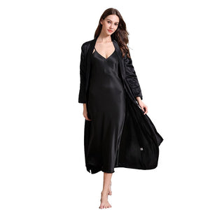 New Summer Women Nightgown Kimono Gown Satin Soft Nightdress Long Suspender Skirt Sleepwear Sexy Comfortable Home Clothes