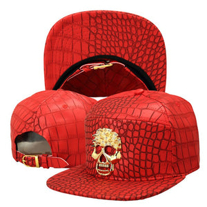 Hip Hop Rap 5 Panel Metal Skull Logo PU Leather Baseball Cap Casual Unisex Belt