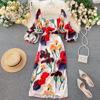 Gaganight Fashion Flower Women Long Party Dress New Chic Vintage Holiday Beach Dresses Slim Bodycon A Line Vestidos Summer Robe