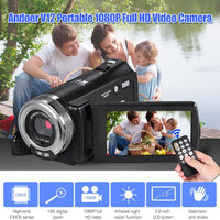 1080P Video Camera Full HD 16X Digital Zoom Recording Camcorder Anti-Shake w/3.0 Inch Rotatable LCD Screen Support Night Vision