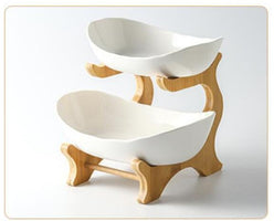 Creative double-layer multi-layerplate ceramic dried fruit plate bamboo wooden shelf sushi dish