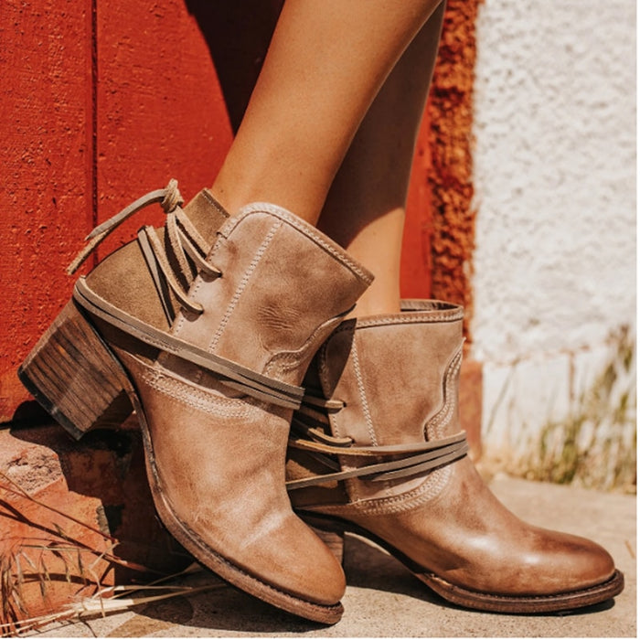 Winter Women Biker Ankle Boots PU Leather Wipe Color High Heel Lace Up Rubber Round Toe