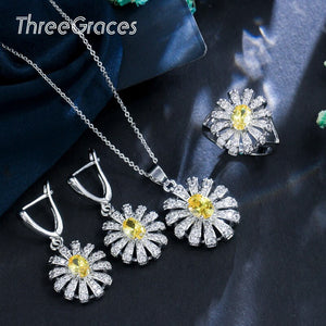 ThreeGraces 2020 Summer Yellow Crystal Flower Clear Cubic Zircon Necklace Earrings and RingJewelry Sets Set for Women Gift JS185