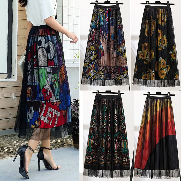 Black Mesh Long Tulle Skirts Women 2020 New Elegant A Line Female High Waist Pleat Midi Skirt