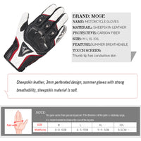 Summer/winter Motorcycle Sheepskin leather Gloves Men woman Motocross Gloves Full Finger Riding Moto Gloves Guantes Gloves M-XXL