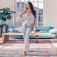 Suphis Silver Splicing Sleepwear Silk V Neck Pajamas Set Women Spaghetti Strap Satin Suit Summer