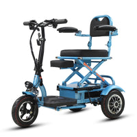 10 Inch Folding Electric Tricycle, 350W 48V 12Ah Trike, Portable Pedicab for Adult / Old People