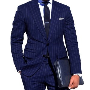Mens Chalk Stripe Suit Custom Made Light Navy Blue Mens Striped Suit With Ticket Pocket