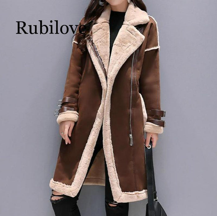 Women Faux Leather Lambs Wool Coat Female Long Thick Warm Shearling Coats Suede Leather