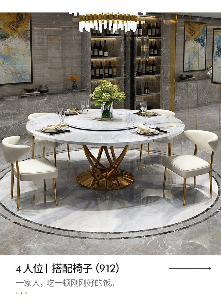 Picture of: Marble Postmodern Light Luxury Round Dining Table With Turntable Home Jyards