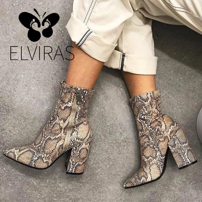 ELVIRAS  Snake Skin Boots Women High Heel Boot snakeskin Pointed Toe Zip Shoes Thick high