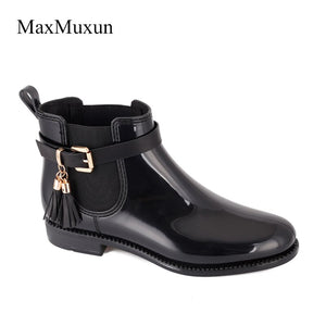 MaxMuxun Women's  Rubber Ankle Rain Boots Black Fringe Causal Snow Booties Female