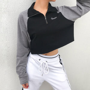Rockmore Zipper Turtleneck Hoodies Crop Top Women Hooded Sweatshirt Plus Size Hoodie Panelled Letter Oversized Pullovers Ladies