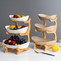 Creative double-layer multi-layerplate ceramic dried fruit plate bamboo wooden shelf sushi dish fruit basket LM01231454