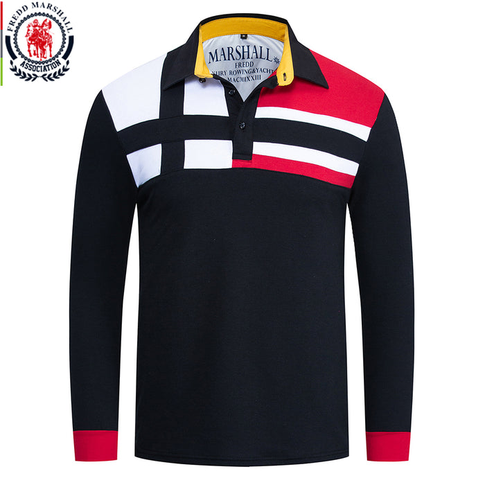 Fredd Marshall 2019 Autumn New Colorblock Polo Shirt Men 100% Cotton Long Sleeve