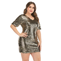 Black Rose Gold Sequin Dress 2020 Summer Glitter Dress Short Sleeves Elegant Casual Club Party Dresses Women Evening Plus Size