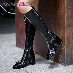 ANNYMOLI Winter Knee High Boots Women Patent Leather Buckle Chunky High Heels Tall Boots Zip Square Toe Shoes Ladies Fall 34-39
