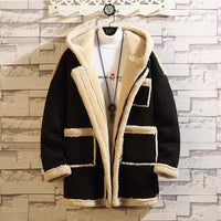 Mens winter jacket coat New Fashion Casual Lamb Cashmere Loose Zipper Long Sleeve Keep Warm Coat erkek mont bomber jacket