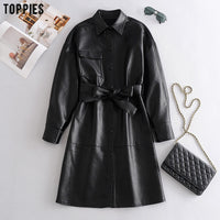 Toppies Fall 2020 Women Black Pu Leather Dress Long Sleeve Belt Shirt Dress Elegant Ladies A-line Vestidos