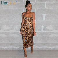 HAOYUAN Sexy Cheetah Leopard Print Midi Dress Women Clothes Plus Size Vestido Elegant Spaghetti Strap Bodycon Night Club Dresses