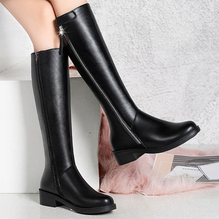 Over The Knee Boots Winter Round Toe Warm Women Boots Lady Fashion Boots Big Size Side Zip