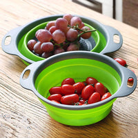 Folding Strainer Bowl Outdoor Camping Tableware Sets Silicone Folding Colander Strainer Draining Bowl Portable Camping Cookware