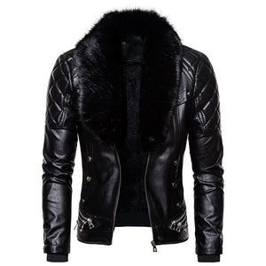 Winter men casual leather jacket mens keep warm punk style coats Thick section Detachable fur collar windbreaker leather jackets