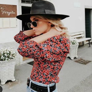 New vintage women floral tops 2019 fashion ladies bomb top sexy female Bohemia v-neck tops femme girls chic boho top clothes